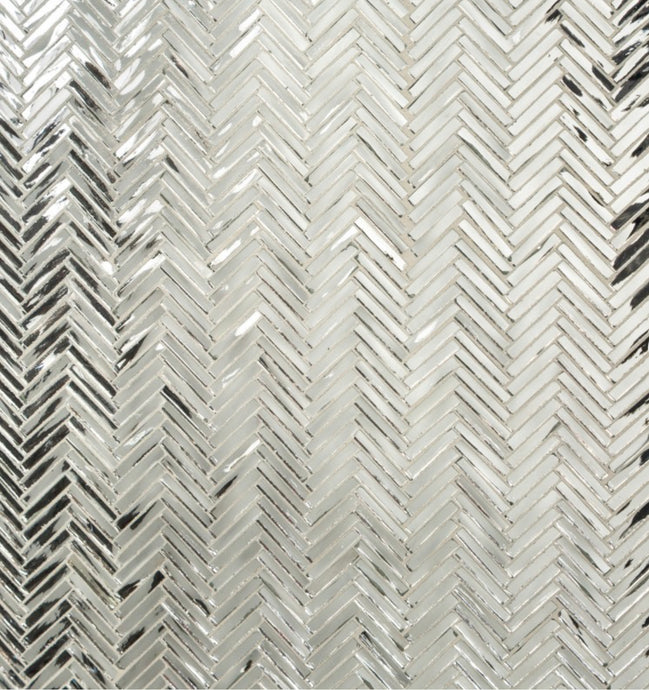 Artistic Tile Hip Herringbone Mirror Glass Mosaic, 50 sq ft.