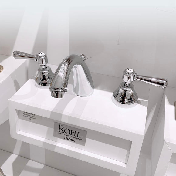 Rohl | Verona C-Spout Widespread Bathroom Faucet in Polished Chrome With Metal Lever Handle