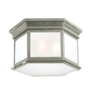 "Visual Comfort & Co. | E.F. Chapman 3 Lt 16"" Nickel Flush Mount Ceiling Light"