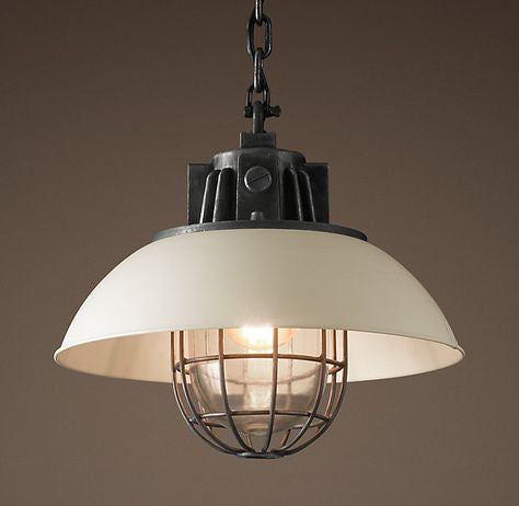 "Restoration Hardware |17"" European Factory Caged Pendant In White"