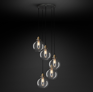 Restoration Hardware | 20Th C. Factory Filament Clear Glass Café Round Chandelier