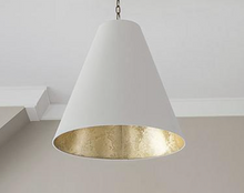 Load image into Gallery viewer, Visual Comfort & Co.| Thomas O'Brien Modern Goodman Hanging Light In Hand-Rubbed Antique Brass with Antique White Shade