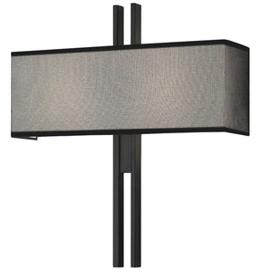 Sonneman | Tandem Wide Sconce in Satin Black, Metal Mesh Shade w/ cotton lining
