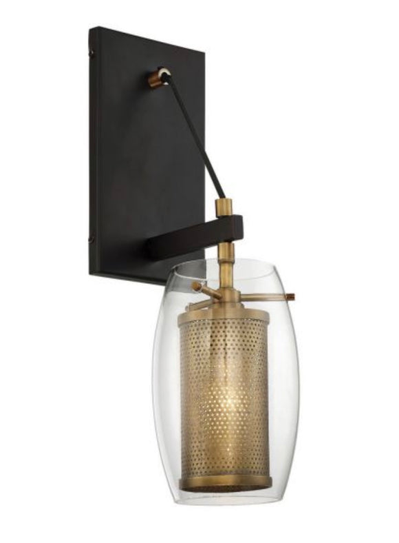 Savoy House | Dunbar Wall Sconce in Warm Brass with Bronze Accent