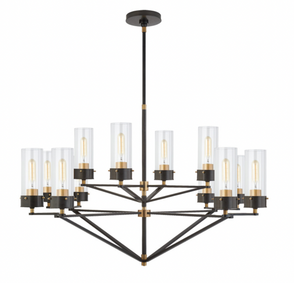 Visual Comfort & Co. | Large Chandelier in Bronze and Rubbed Antique Brass