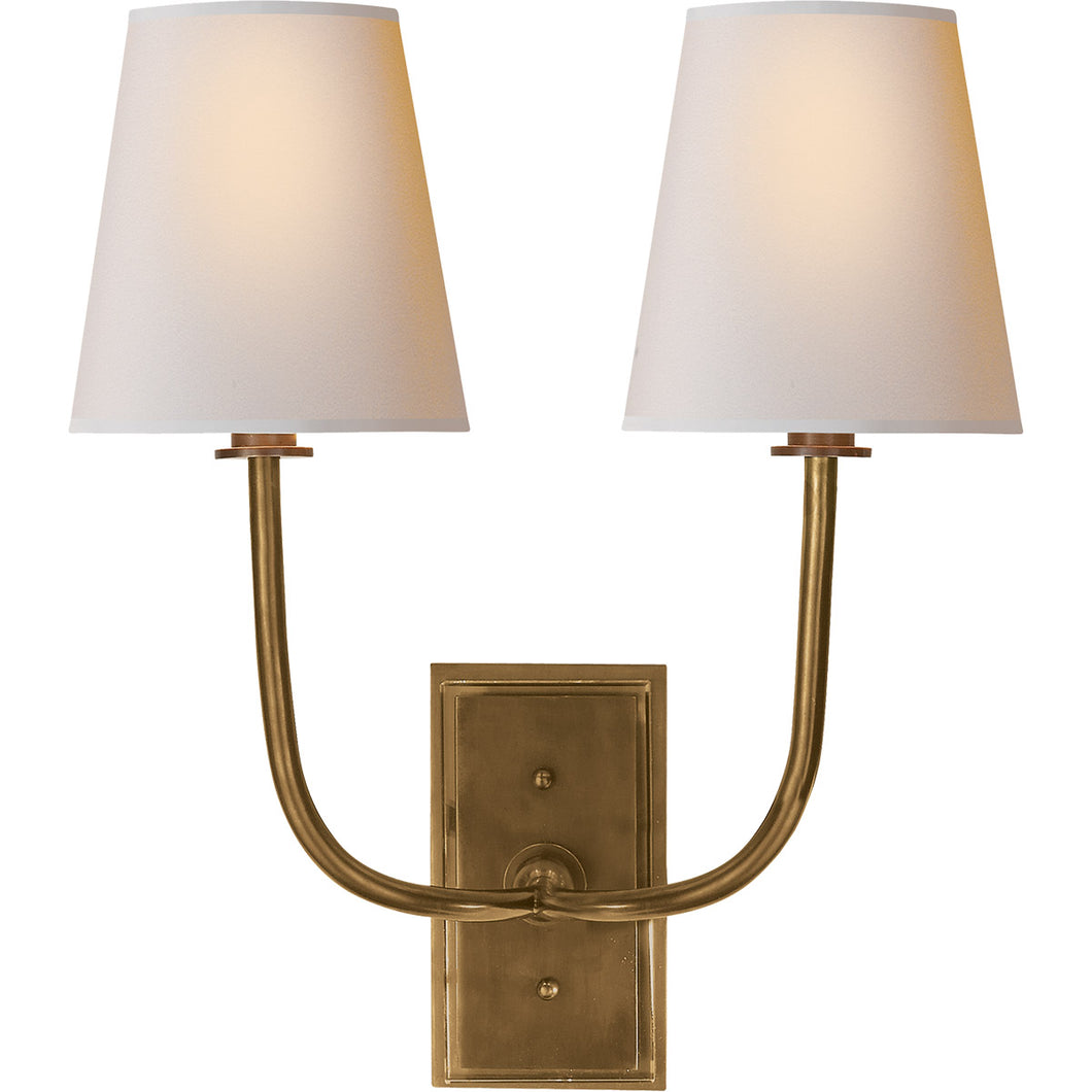 Visual Comfort & Co. | Thomas O'Brien Hulton 2 Light, 14 Inch Hand Rubbed Antique Brass  Decorative Wall Light
