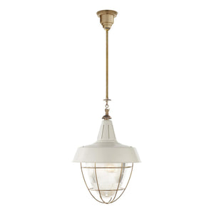 Visual Comfort & Co. | Thomas O'Brien Henry 2 Light, 18 Inch Hand-Rubbed Antique Brass Pendant Ceiling Light In White Tole