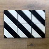 "Clé | Cement Tictoc Black + White. 8"" x 8"" Tile"