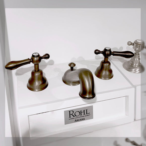 Rohl | Arcana C-Spout Rohl | Arcana C-Spout Widespread Bathroom Faucet - Tuscan Brass With Metal Lever Handle