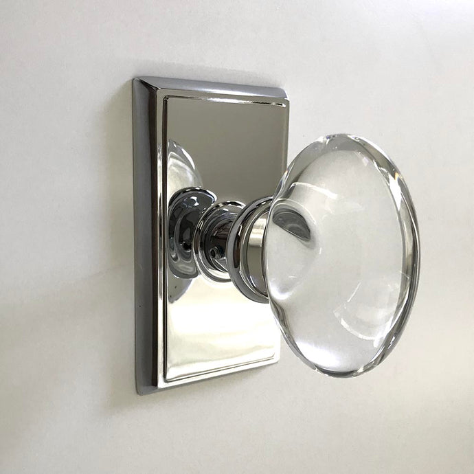 Emtek Assa Abloy, Hampton Crystal Knob, Dummy Set in Polished Chrome.