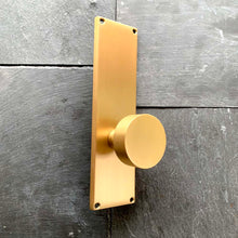 "Load image into Gallery viewer, Emtek 9"" Modern Sideplate Privacy Entry Set Satin Brass"