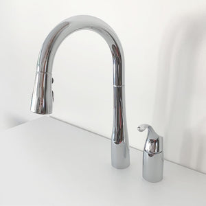 Kohler Simplice Pull-Down Faucet in Polished Chrome.
