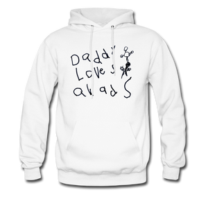 Daddy Loves Quads Drawing Hoodie - white
