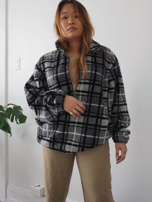 Vintage Plaid Teddy Half-Zip