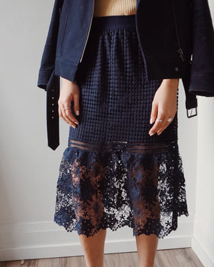 Embroidered Navy Skirt