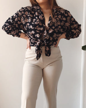 Dark Navy Floral Blouse Tied