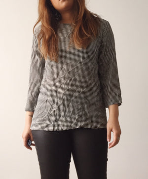 Vintage Silk Houndstooth Top