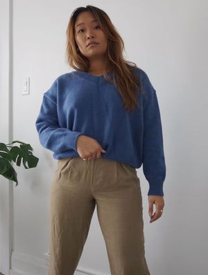 oversized dusty blue knit