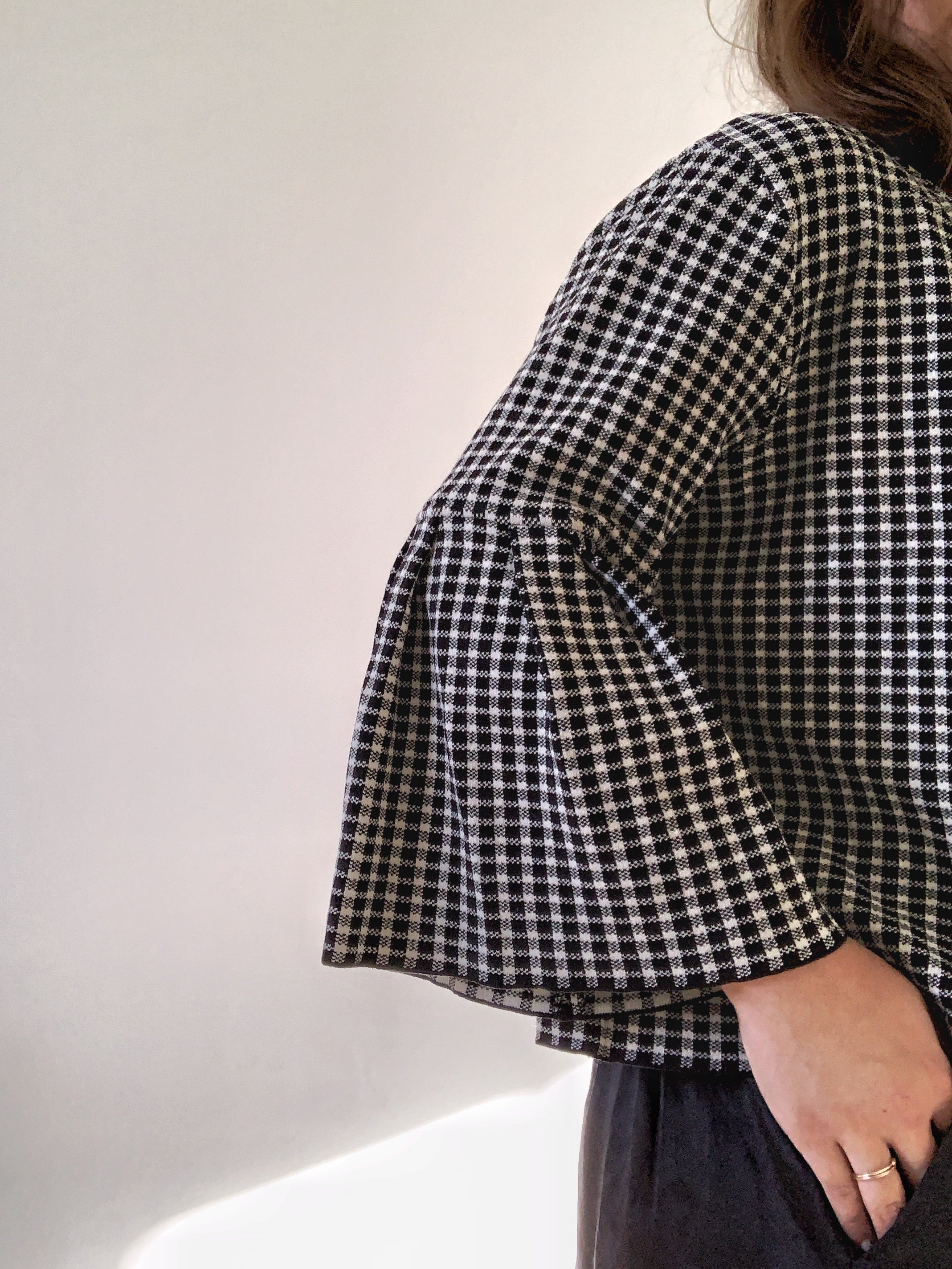 Gingham Flared Sleeve Jacket