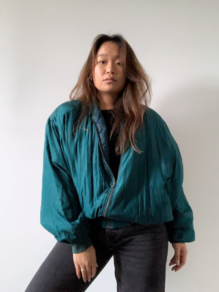 Emerald Silk Bomber Jacket
