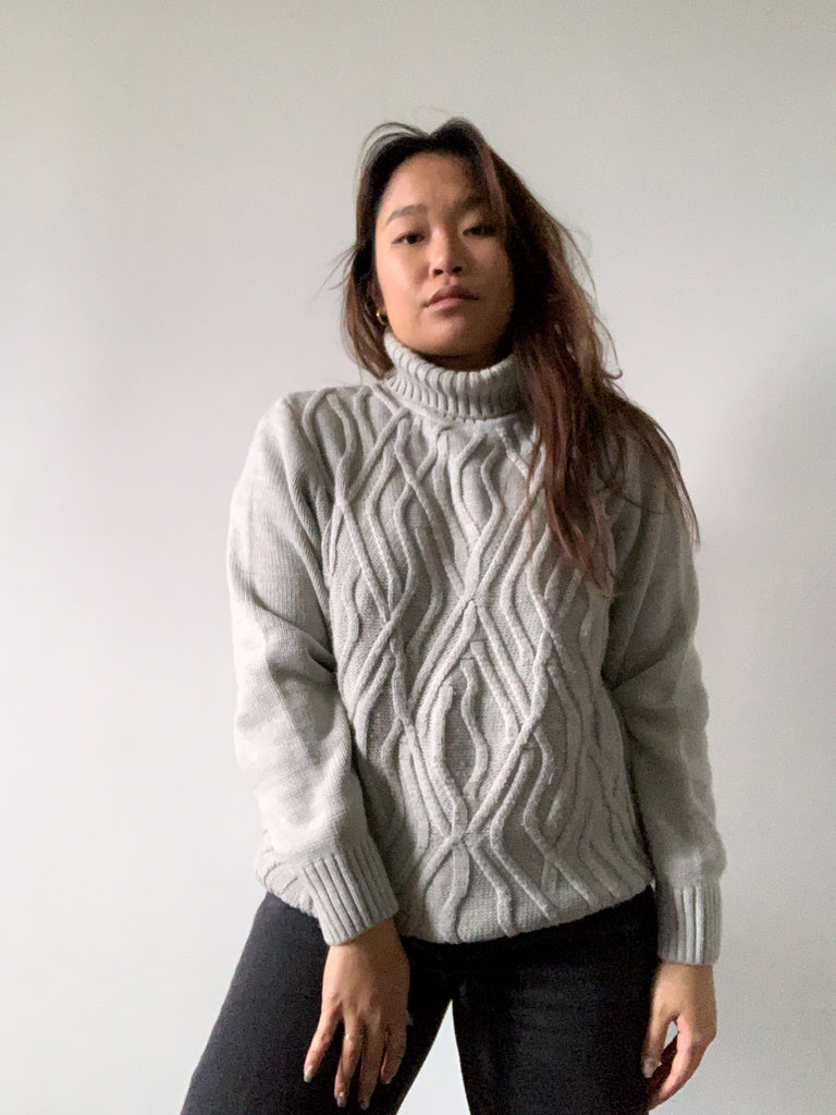 Grey Cable Knit Turtleneck