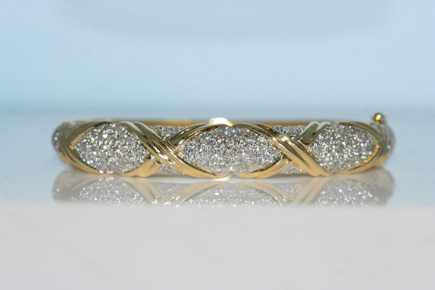 Yellow Gold X And Pave Diamond Bangle