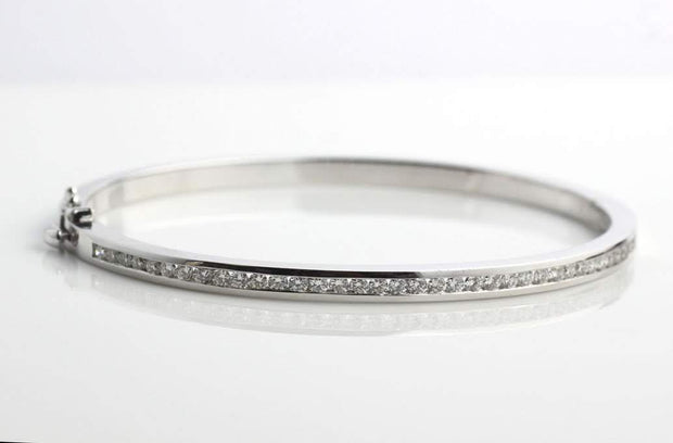 Diamond Bangle Bracelet | Channel Set White Gold 1.15cts