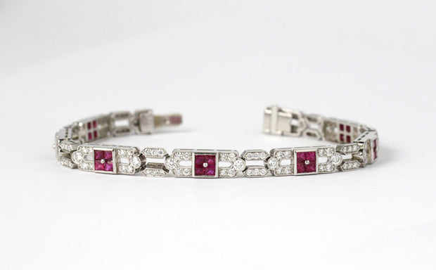 Art Deco Ruby And Diamond Bracelet | Platinum