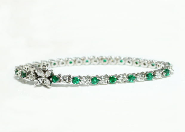 Emerald and Diamond Bracelet with Marquis Clasp