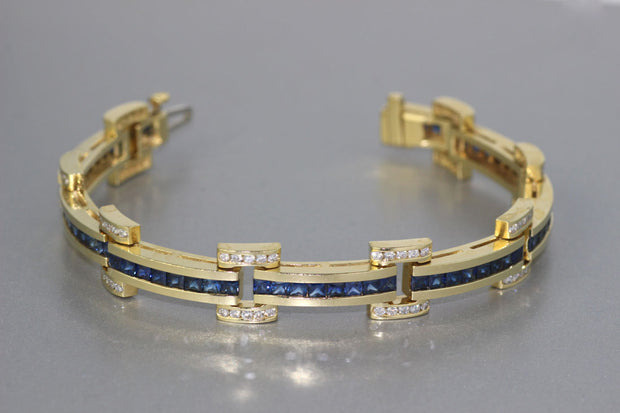 Yellow Gold Sapphire And Diamond Bracelet