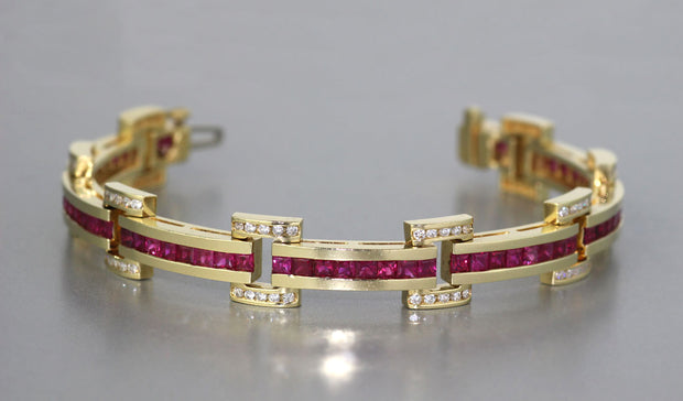 Yellow Gold Ruby And Diamond Bracelet