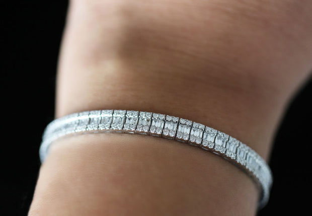 Baguette and Round Cut Diamond Bracelet | 18K White Gold
