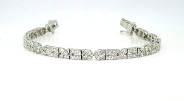 Diamond Vintage Style Bracelet | 18K White Gold