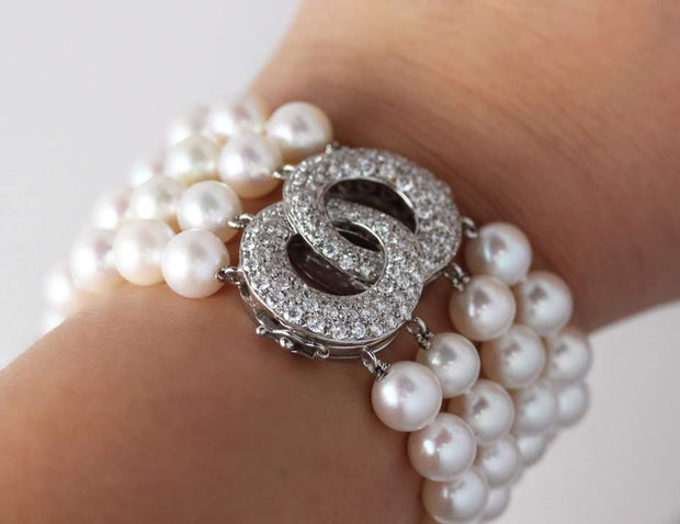 4 Strand Pearl Bracelet with Diamond Clasp | 18K White Gold