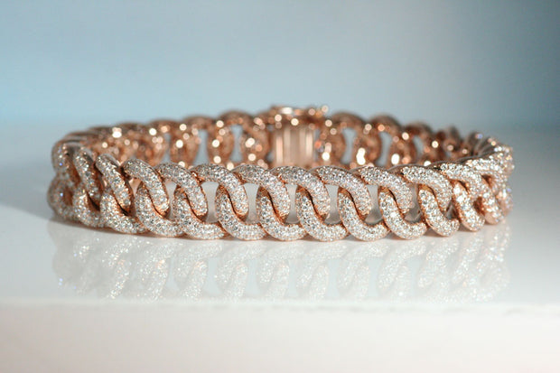 Curb Link Diamond Pave Bracelet in Rose Gold