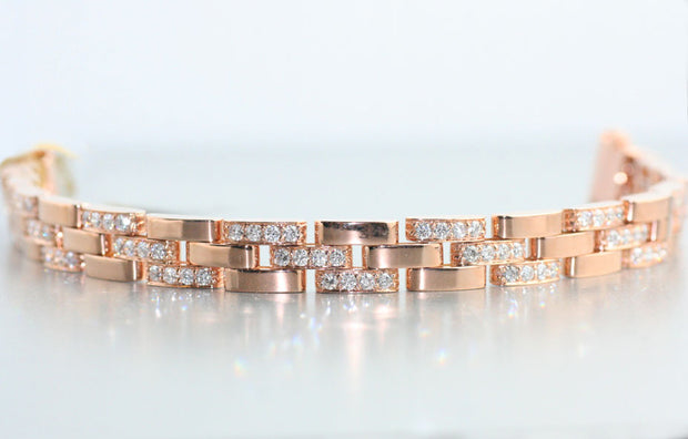 Brick Link Bracelet with Diamonds in Rose Gold