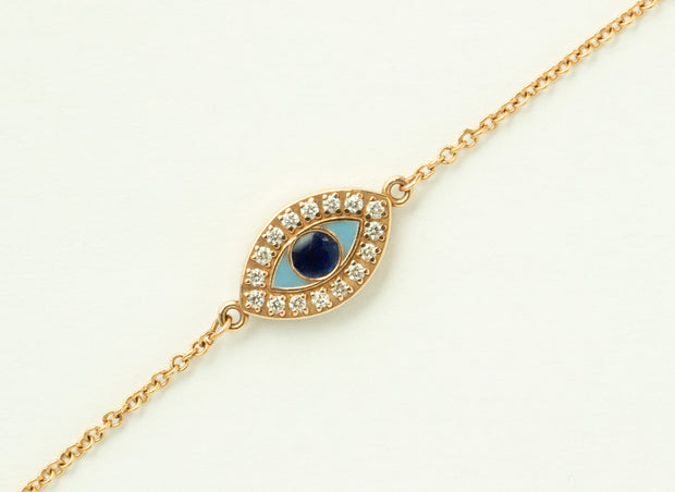 Evil Eye Diamond and Enamel Bracelet | 14k Rose Gold