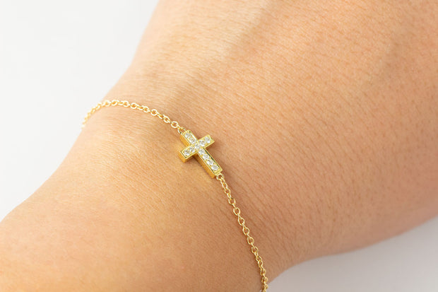 Double Sided Black and White Diamond Cross Bracelet | 14K Yellow Gold