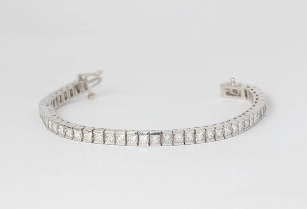 Princess Cut Diamond Line Bracelet | Channel Set White Gold