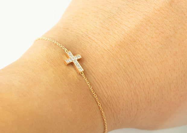 Double Sided Sapphire and Diamond Cross Bracelet | 14K Rose Gold