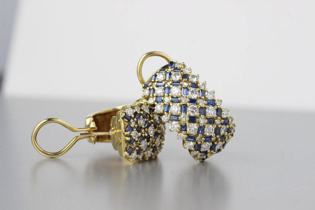 Sapphire and Diamond Earrings | 18K Yellow Gold