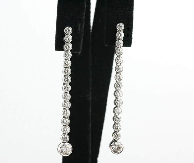 Diamond Line Dangle Earrings | 18K White Gold
