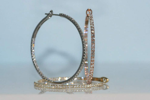 Diamond Hoop Earrings | 18K White Gold