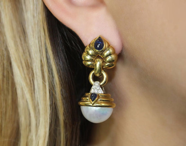 Mabe Pearl And Sapphire Earrings