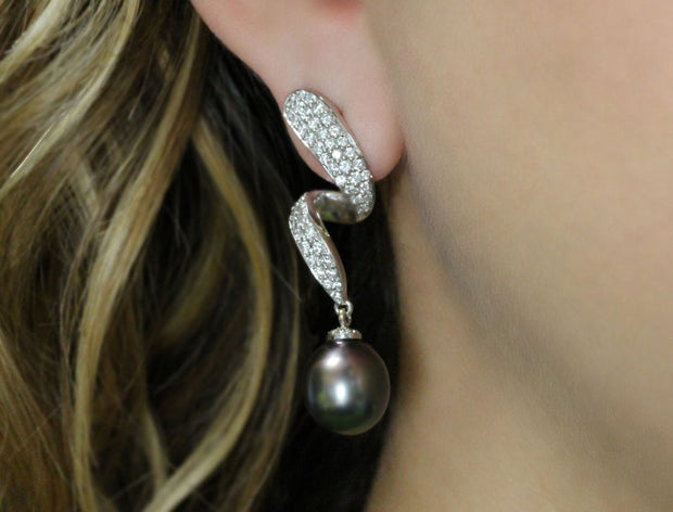 Black South Sea Pearl and Pave Diamond Earrings