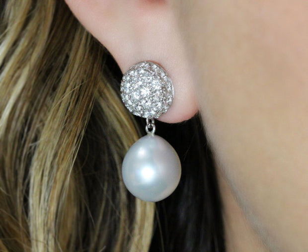 Pave Diamond and Pearl Drop Earrings