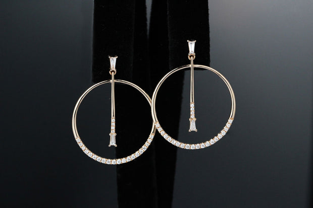 Baguette Diamond Hoop Earrings | 14K Rose Gold