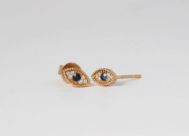 Evil Eye Sapphire Earrings
