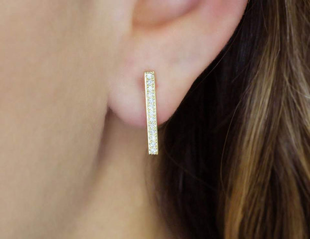 Diamond and Gold Bar Earrings