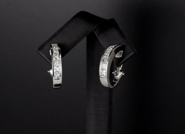 Princess Cut Diamond Huggie Earrings in Platinum